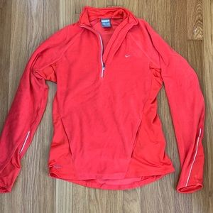 Peach fleece half-zip Nike workout jacket